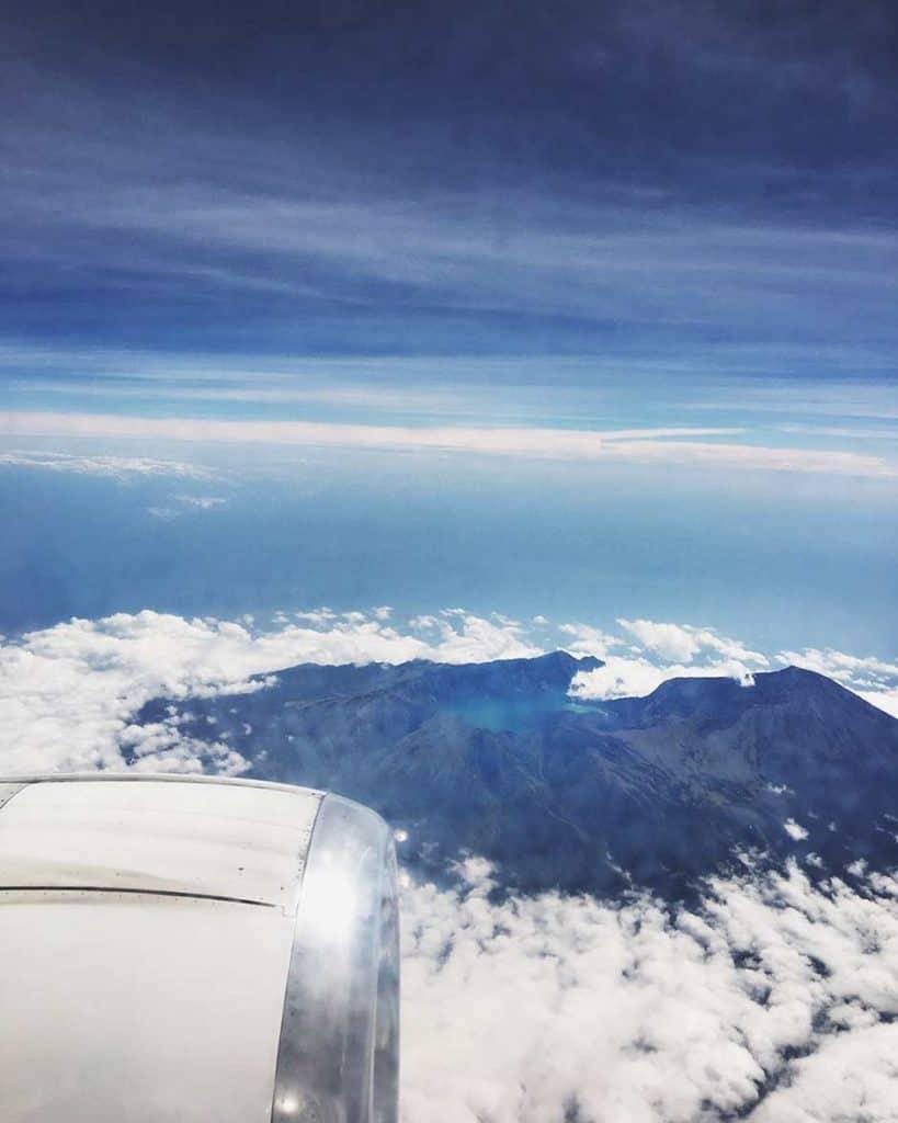 Vitsas desde el avión sobrevolando Lombok, Indonesia