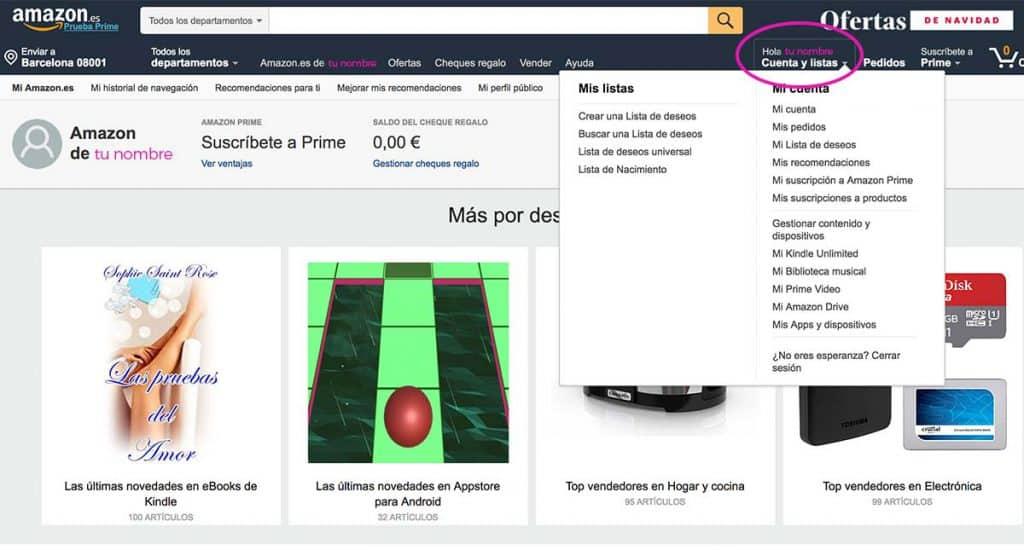 Cuentas y direcciones de Amazon, paso 4