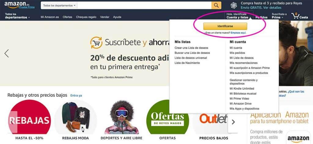 Crear cuenta en Amazon, paso 1å