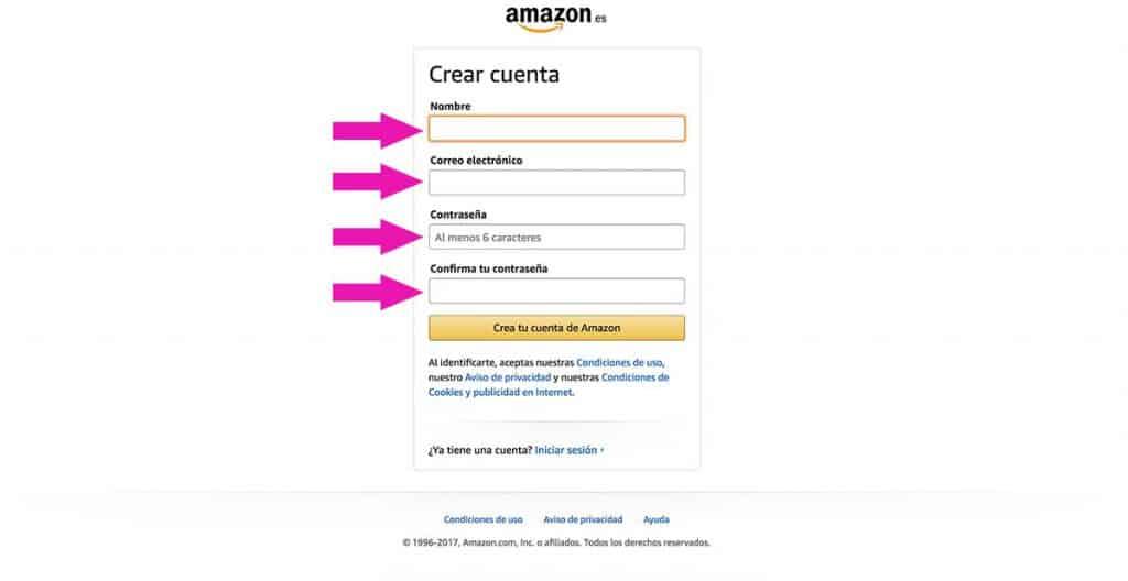 Rellenar los datos en Amazon, paso 2
