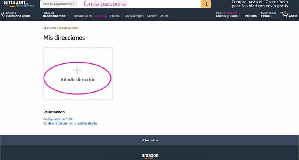 Pulsa añadir dirección en Amazon