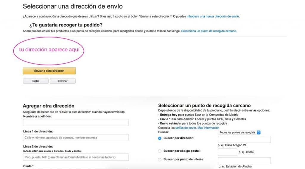 Confirma la dirección de envío en Amazon