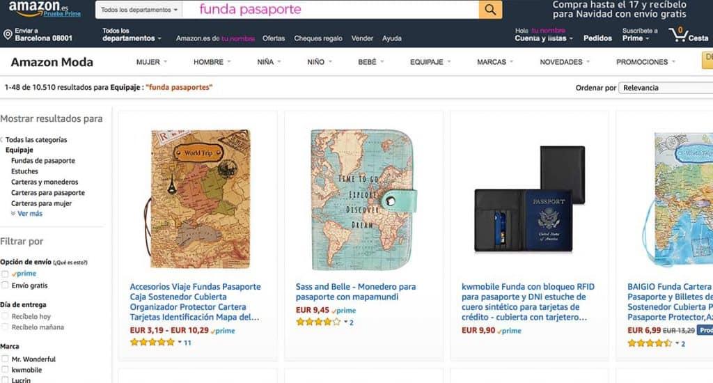 Comprar funda de pasaporte, ejemplo real de compra en Amazon