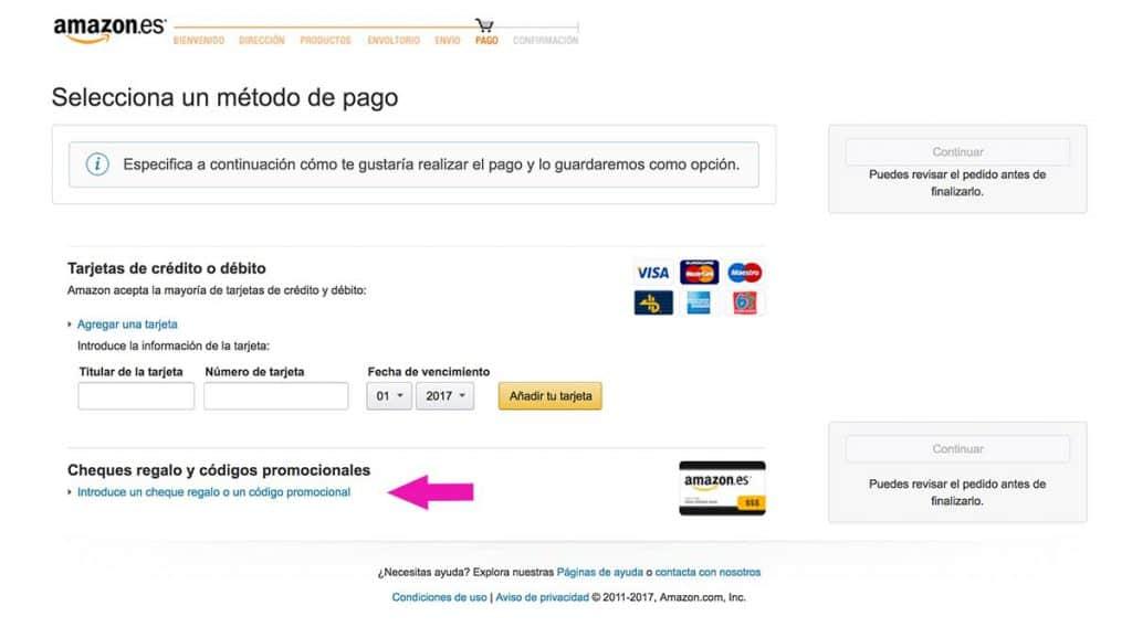 Código promocional o tarjeta regalo en Amazon? No te olvides de introducirlo