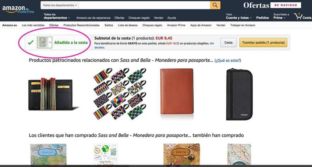 Producto añadido a la cesta Amazon