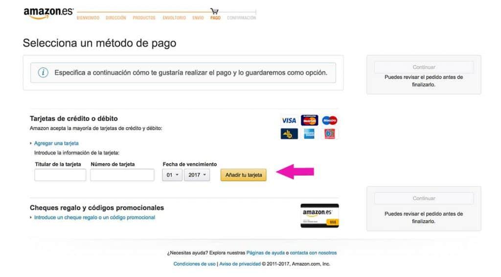 Introduce tus datos de tarjeta en Amazon