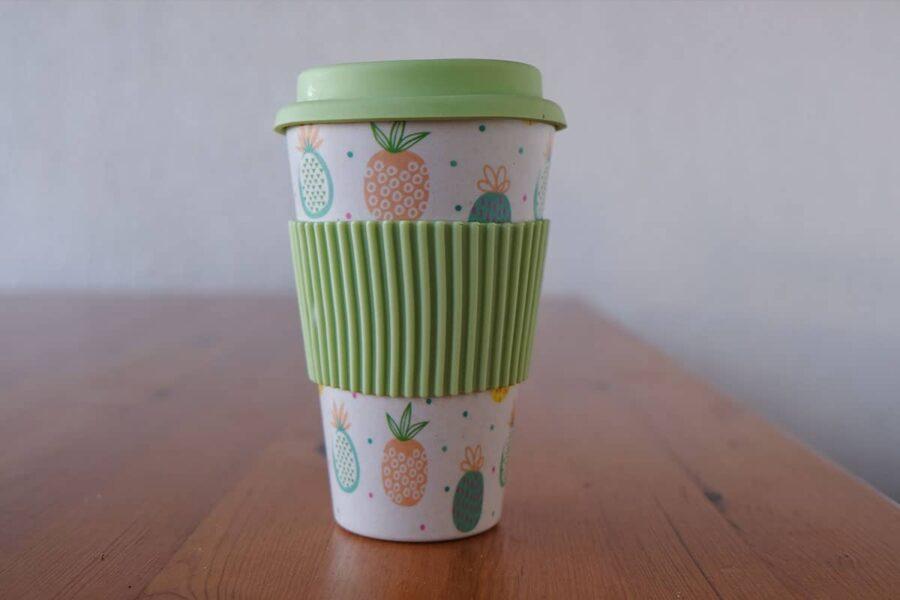 taza reusable de bambú