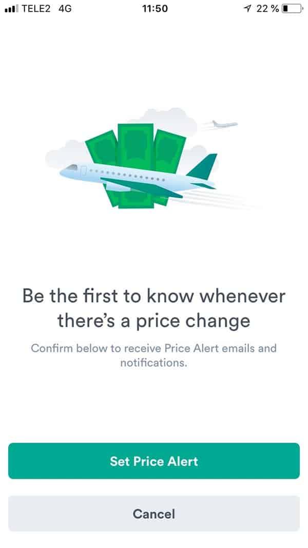 Crear una alerta de precios en la apliación de kiwi