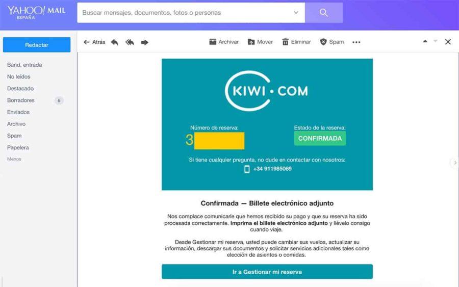 ¿ Es fiable reservar con kiwi? Email de confirmación