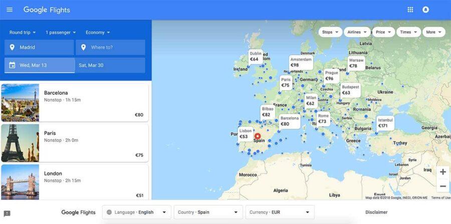 Cómo encontrar vuelos baratos con Google Flights