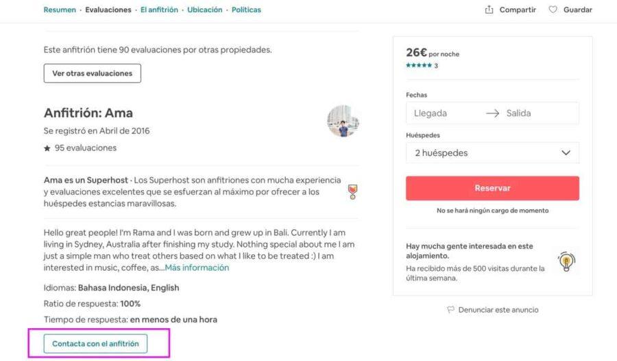 Cómo funciona Airbnb - contacta al anfitrión