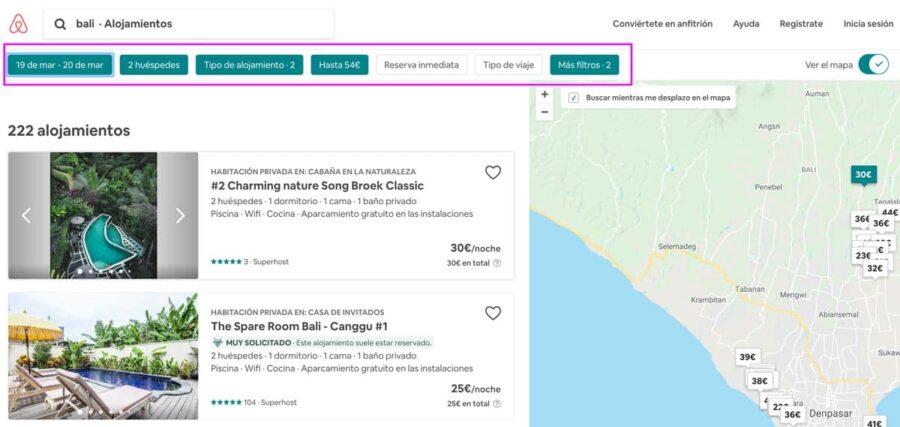¿Cómo funciona Airbnb? Filtros