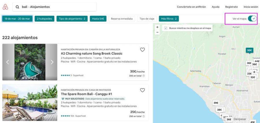 Cómo funciona Airbnb para principiantes - función mapa