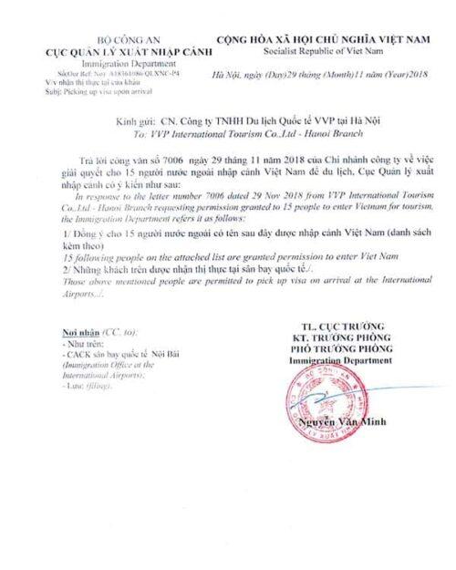 Carta de invitación Vietnam