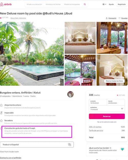 Airbnb política cancelación