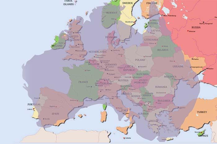 Mapa comparativo Europa y Australia