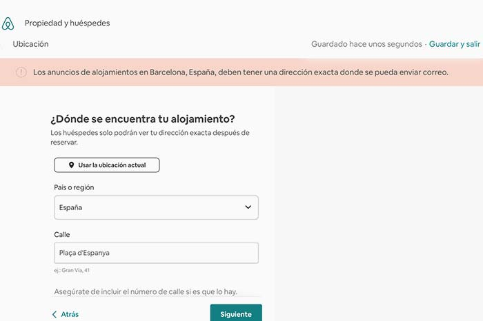 Mensaje de error Airbnb