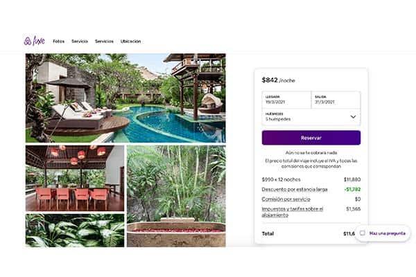 Anuncio de Airbnb Luxe