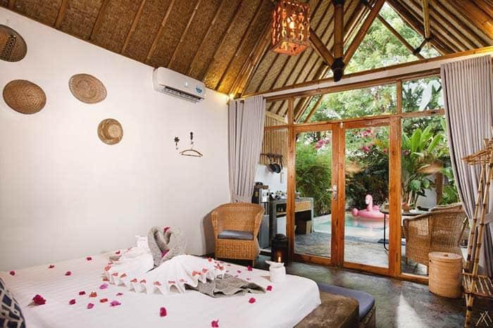 Cabaña Gili Air Indonesia habitación